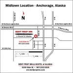 Midtown Anchorage Location Map for Bent Prop Inn & Hostel of Alaska